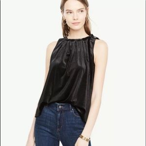 NWT Ann Taylor Velvet Ruched Shell Top LP  Black